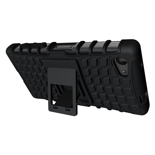InventCase Sony Xperia Z5 Compact 2015 Heavy Duty Shockproof Case Cover with in Built Stand and Screen Protector - Black