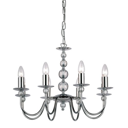 Modern 8 Arm Ceiling Light With Clear Spheres - Dual Mount