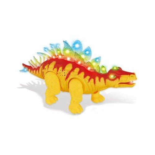 AZ Import D638 Orange Walking Stegosaurus with Flashing & Sounds Dinosaur Toys for Kids - Orange