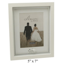 Amore Wedding Photo Frame With Crystal Rings Plain 5x7