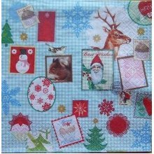 4 x Christmas Paper Napkins - Christmas Stamps - Ideal for Decoupage