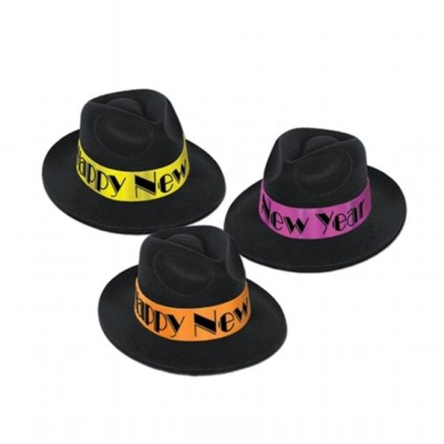 4ffc46065d3bd Beistle Company 88712-25 Neon Swing Fedoras - Black With Assorted Color  Bands on OnBuy