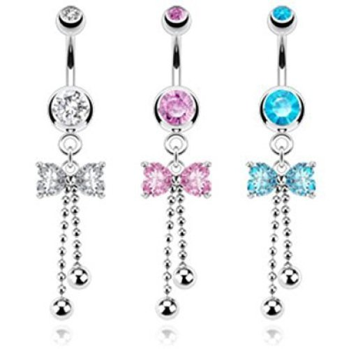 Crystal Petite Bow and Ball Chain Droplet Belly Bar
