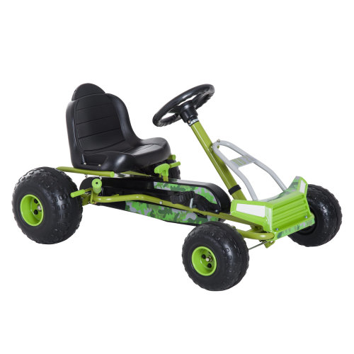 HOMCOM Kids Pedal Go Kart W/Adjustable Seat-Green