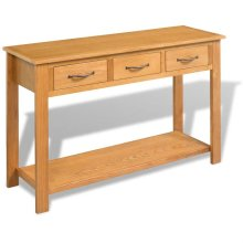 vidaXL Large Console Table Solid Oak 118x35x77 cm