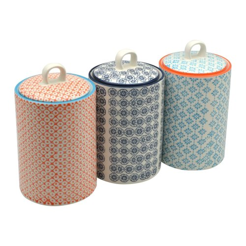 Nicola Spring Patterned Porcelain Tea/Coffee / Sugar Canisters - Set Of 3