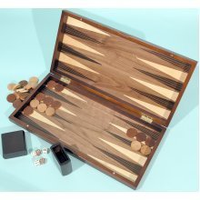 Walnut backgammon set with inlaid top and board - 00455