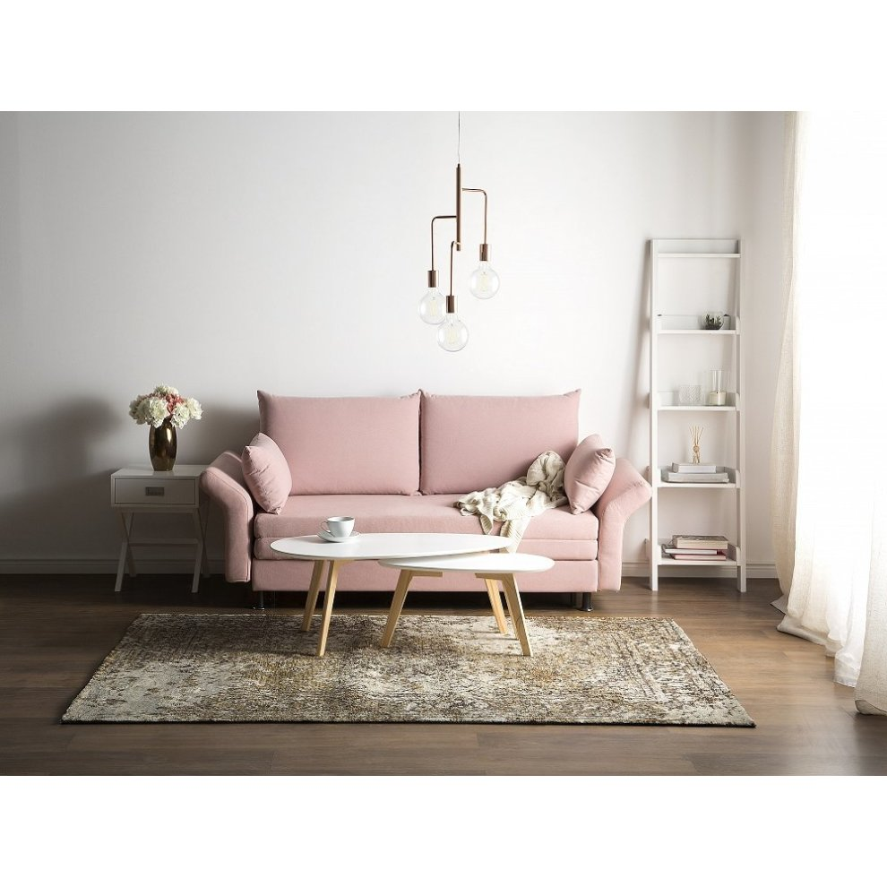 2 Seater Fabric Sofa Bed Pink Exeter