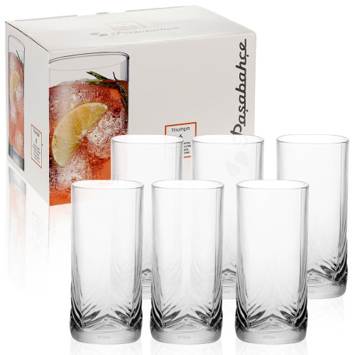 6x 30cl Tall Pasabahce Glasses Tumblers Clear Cups