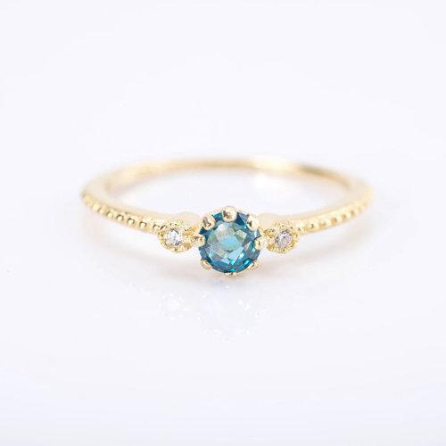 925 Sterling Silver Women Gemstone Blue Diamond Engagement Ring