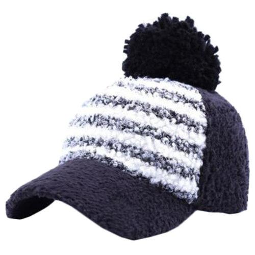 Unisex Leisure Hat Black Baseball Cap Keep Warm Thick Plush Cycling Cap