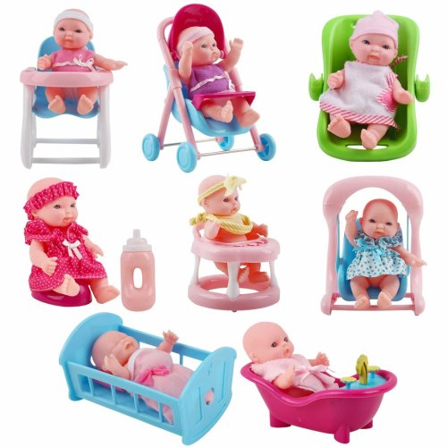 "deAO Set of 8 Mini 5"" Baby Dolls with Accessories Including Stroller, Bathtub, Crib, High Chair, Walker and Much More!"