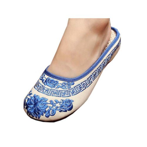 Womens Embroidered Summer Slippers Wedges Sandals Shoes for Cheongsam, #21