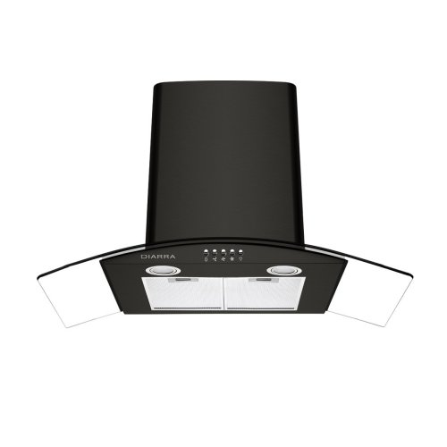 Ciarra 90cm Curved Glass Black Chimney Cooker Hood Kitchen Range Extractor Fan