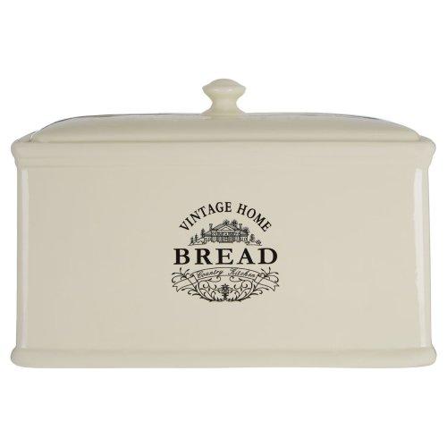 Vintage Home Bread Crock Elegant Wording Detail Cream Ceramic