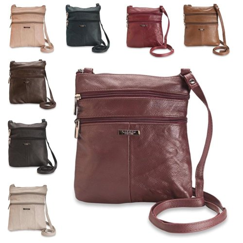Ladies Small Genuine Leather Shoulder Cross Body Bag 5 Zipped Pockets