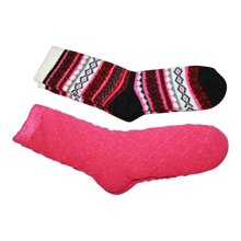 Cabin Socks Aloe Infused Double Layer 2 pack  1 Nordic Pattern and 1 Solid (Pink)