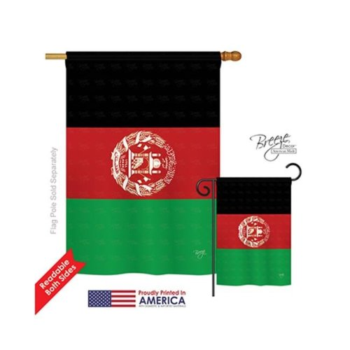Breeze Decor 08272 Afghanistan 2-Sided Vertical Impression House Flag - 28 x 40 in.