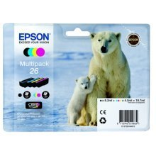 Epson C13T26164010 (26) Ink cartridge multi pack, 220pg + 3x300pg, 6ml + 3x5ml, Pack qty 4