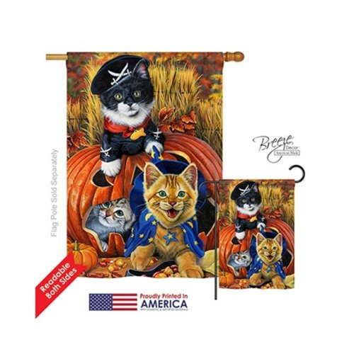 Breeze Decor 12058 Halloween Halloween Kittens 2-Sided Vertical Impression House Flag - 28 x 40 in.