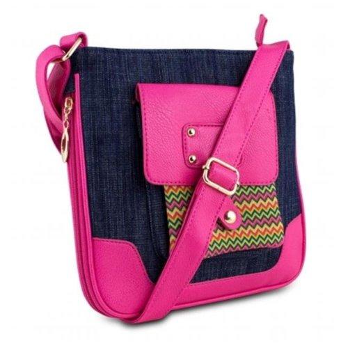 Mad Style 317830 Shellie Crossbody, Blue Denim & Pink