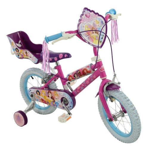 "Disney Princess Girls 14"" Wheel Single Speed Bike Bicycle Stabilisers M14387"