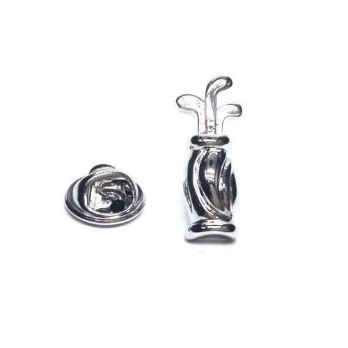 Golf Bag and Clubs Pewter Lapel Pin Badge