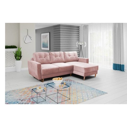 Pink Corner Sofa Bed Retro, Storage, Velveteen Fabric on ...