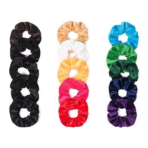 Vancool 15 Pack Hair Scrunchies Bobbles Elastic Velvet Colorful Scrunchy Hair Bands Ties, 11 Multicolors+ 4 Blacks
