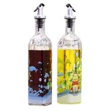 2PCS Beautiful Glass Oil Container Cruet Oil Bottle Vinegar Bottle, NO.4