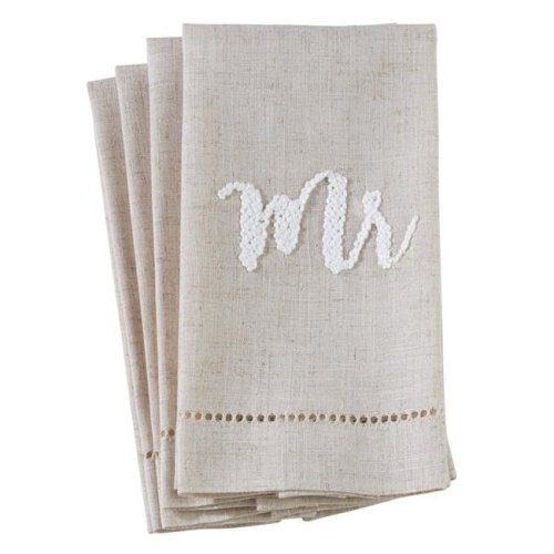 Saro Lifestyle 515.N1422 14 x 22 in. Poly Blend Mr Hemstitch Guest Towels - Natural, Set of 4