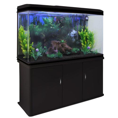 Aquarium Fish Tank & Cabinet with Complete Starter Kit - Black Tank & Black Gravel
