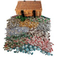 The Little Sweet Shop Mint Sweets Hamper in a Real Wicker Hamper Great for Parties & Weddings and Birthdays