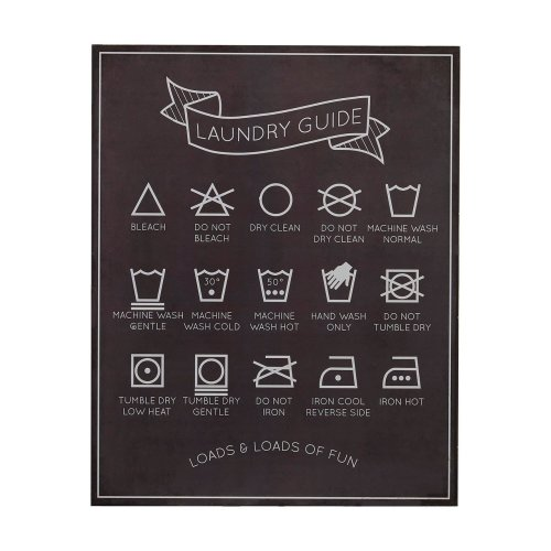 Laundry Guide Wall Plaque, MDF - Black