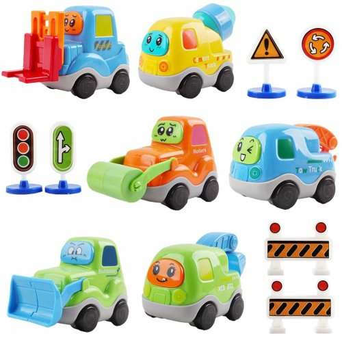 deAO 6 in a Pack Cartoon Construction Vehicles Set with Mini Roadblock Set – Great Gift for Kids