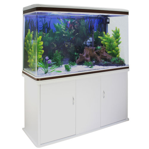 Aquarium Fish Tank & Cabinet with Complete Set Up White Tank & Gravel