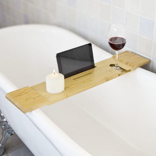 SoBuy FRG104-N Bamboo Bathtub Shelf | Slim Bath Bridge