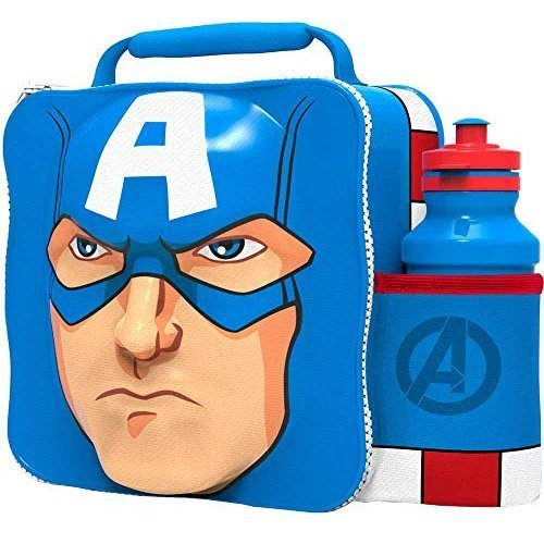St357 - 3d Lunch Bag With Bottle - Captain America - Marvel Set Avengers Box -  captain america 3d lunch bottle bag marvel set avengers box new 500ml