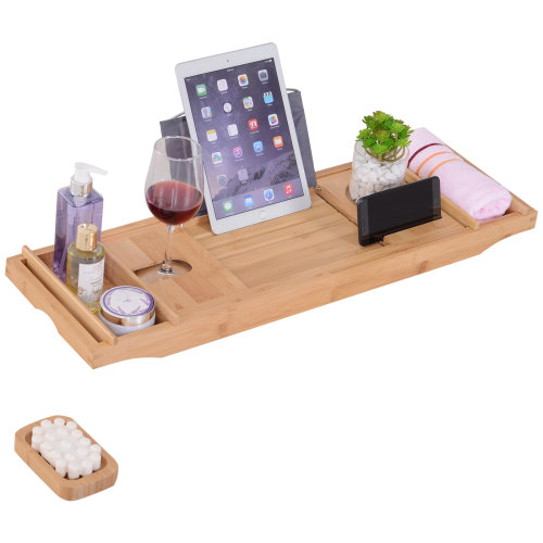 kleankin Bamboo Bath Rack Caddy Tray Extendable Bathtub Bridge Adjustable Organiser Tablet Phone  Wine Book Holder