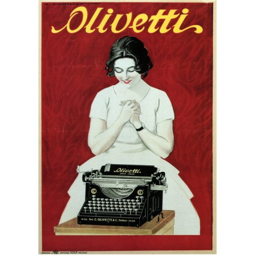 Advertising poster - Olivetti Typewriter - High definition printing on stainless steel plate
