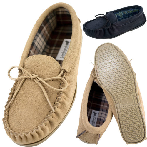 07ca79d4ce6 Lambland Mens Genuine Suede Moccasin Slippers with Cotton Lining and Hard  Sole on OnBuy