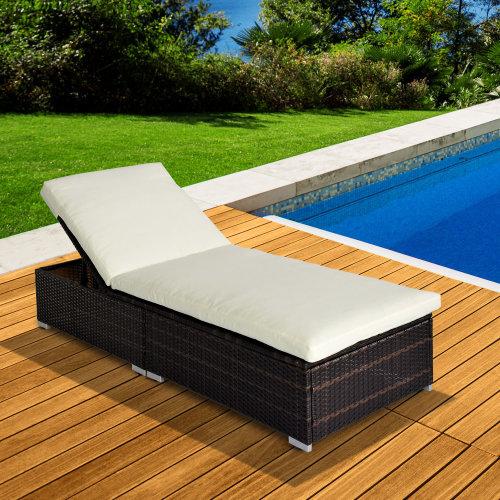 Outsunny Rattan Recliner Lounger Garden Furniture Sun Lounger Recliner Bed Chair Reclining Patio Wicker New