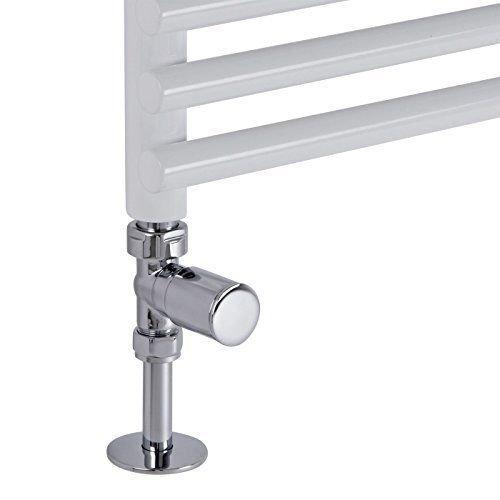 Chrome Straight rad valves for heated towel rail radiators
