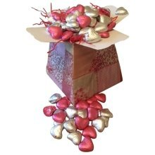 Valentine Posy Box with 500g of Red and Silver Milk Chocolate Hearts