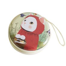 [Cat Red] Set of 2 Cute Tinplate Headphone Cable Organizer Key Case