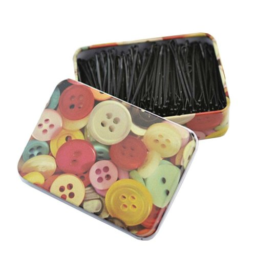 [Button] 200pcs Black Bobby Pins Metal Hair Pins with Cute Tin Box