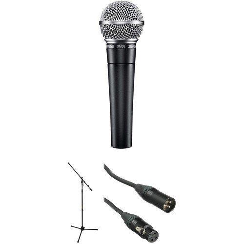 SHURE SM58 Dynamic Microphone, JB's Mic Stand, JB's 6 Metre XLR-XLR Lead, And Mic Clip Package