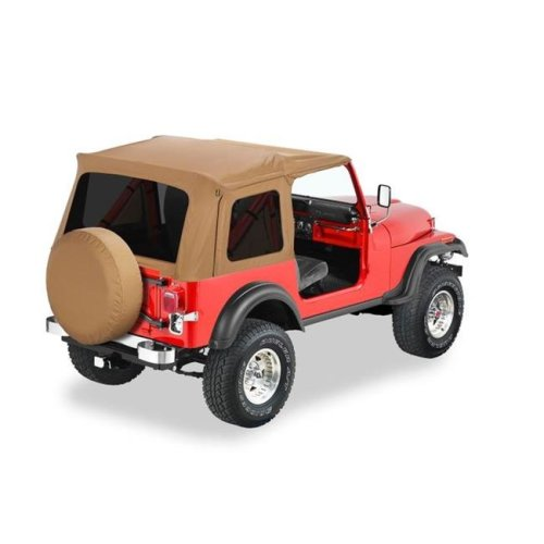 Bestop BES54599-15 Supertop Classic Replacement Soft Top for 1976-1995 Jeep CJ7 Wrangler - Black Denim