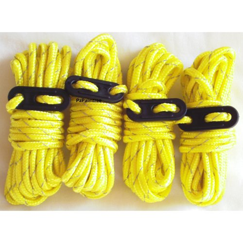 4 Yellow High-Visibility Guylines | Tent Ropes