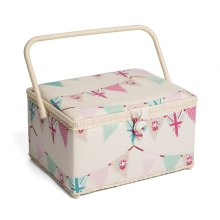 Hobbygift Premium Large Sewing Basket - Bunting - 24cm x 31.5cm x 19.5cm